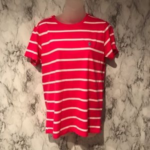 pink striped polo shirt